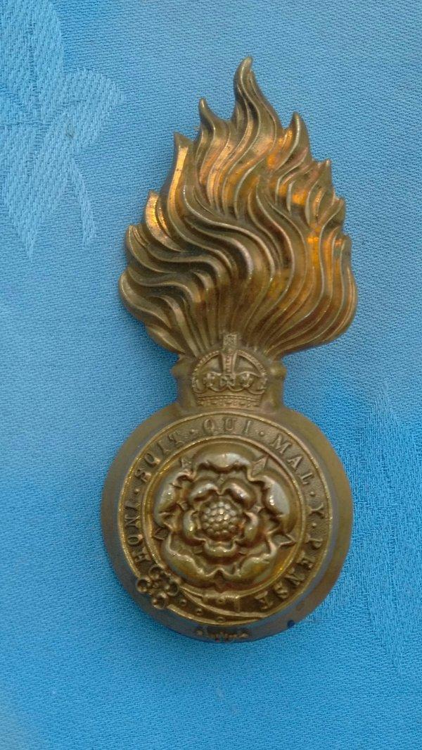 The Royal Fusiliers Fur cap badge.