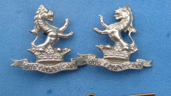 The 7th Dragoon Guards collar badges.