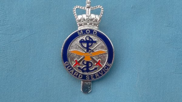 The Ministry of Defence Guard Service cap badge.