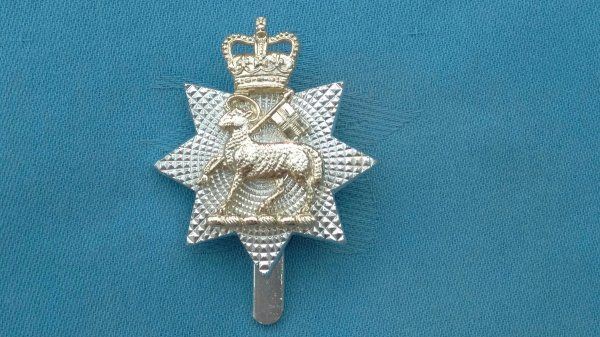 The Queens West Surrey Regiment cap badge.