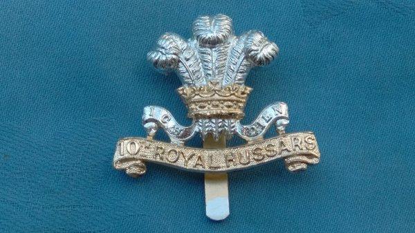 The 10th Royal Hussars cap badge.
