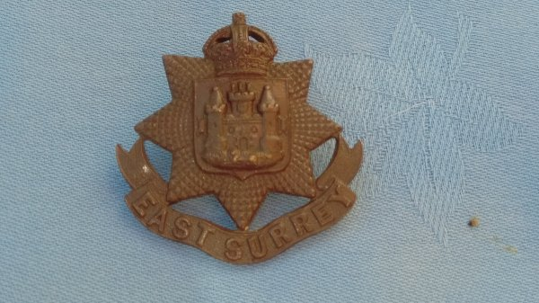 The East Surrey Regiment Officers Service Dress cap badge.