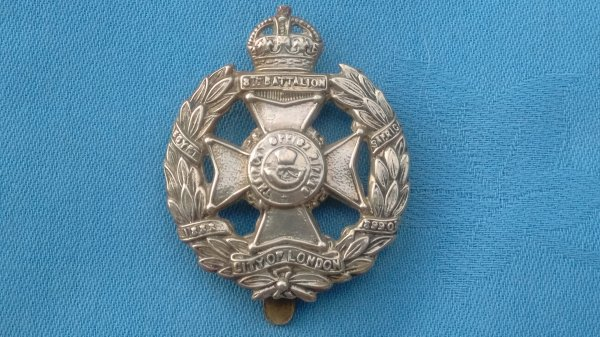 The 8th County of London Battalion.The Post Office Rifles cap badge.