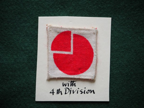 4th Inf Div, printed. Mounted on stiff card