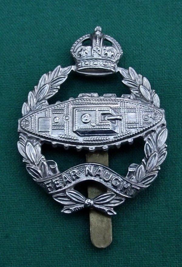 scarce and genuine royal tank corps c.1924 cap badge 'Reverse Tank'