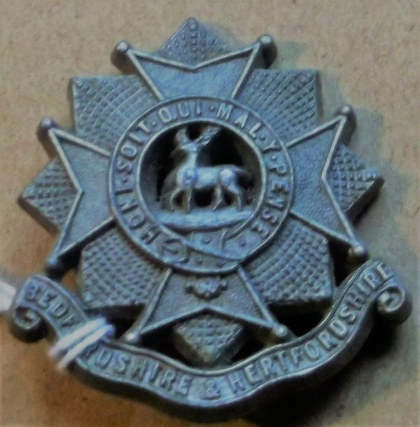CAP BADGE BEDFORDSHIRE REGIMENT PLASTIC NO DISTORTION