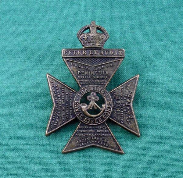 Rare 'Tel El Kebir' King's Royal Rifle Corps Cap Badge