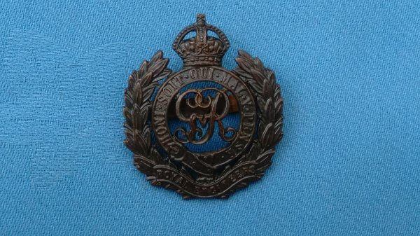 The Royal Engineers Officers Service Dress cap badge.