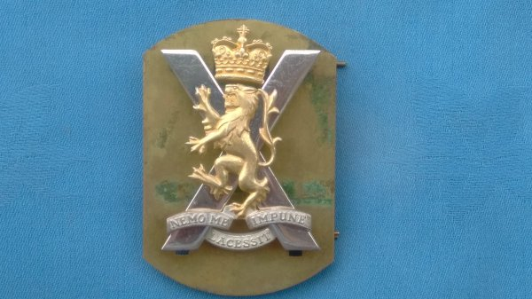 The Royal Regiment of Scotland Officers cap badge.
