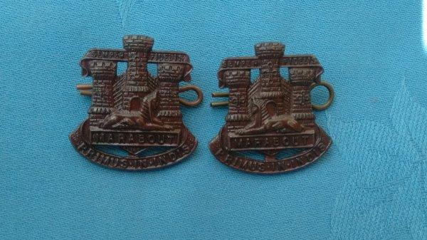 The Devon&Dorset Regiment Officers collar badges.