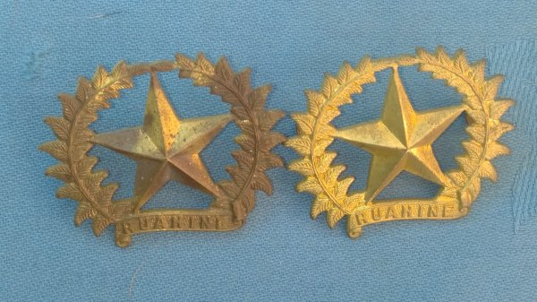 The 7th ( Southland ) Mounted Rifles collar badges.