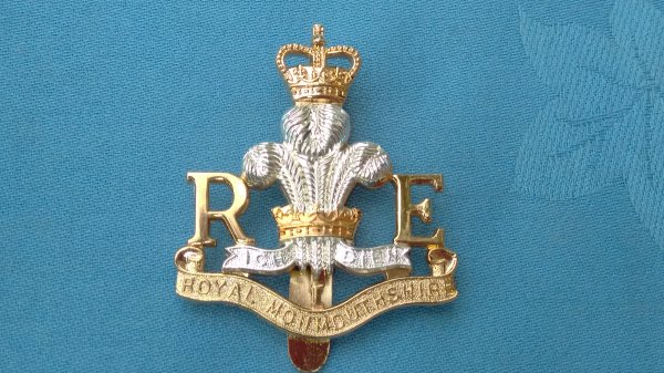 The Royal Monmouthshire Engineers cap badge.