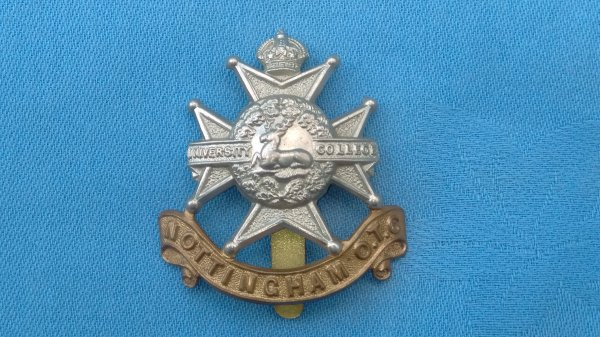 The Nottingham University Officer Training Corp cap badge.