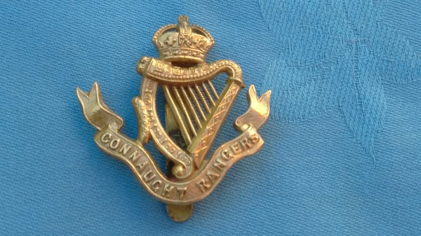 WW1.The Connaught Rangers cap badge.