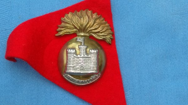 The Royal Inniskilling Fusiliers cap badge.