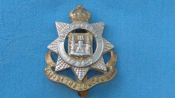 The 23rd Battalion London Regiment cap badge.