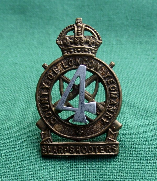 Scarce The 4th County of London Yeomanry Beret Badge.