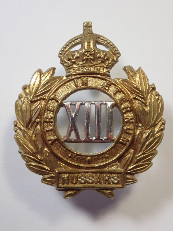 13th Hussars WW1 Collar Badge.