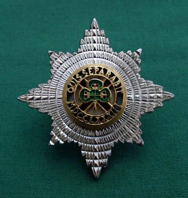 Irish Guards Silvered Forage Cap Badge