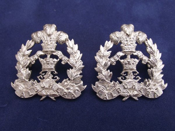 Middlesex Regiment Silver Officers Collar Badges