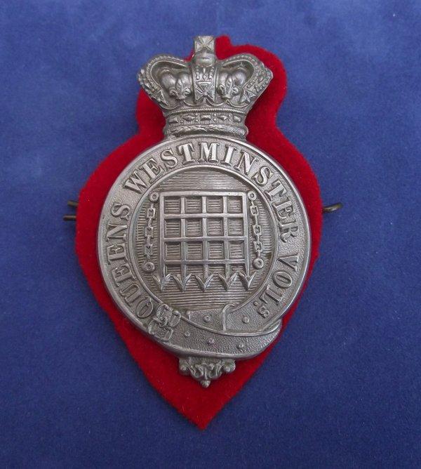 Victorian Queen's Westminster Volunteers Glengarry/Slouch Hat Badge